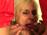 Two buddy share very old blonde granny