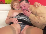 Hairy grandma in stockings gets fucked hard