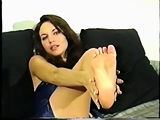 Foot fetish cumload with brunette