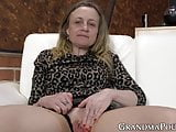 Fit granny uses toy to drill her smoothly shaved pussy hard