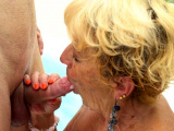 Poolside granny gets her pussy ground