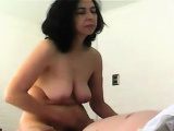 Saggy boobed MILF riding on cock