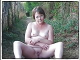 Naughty Mature Slut, Strips on a countryside path.