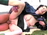 ugly hairy grandma fucks grandson outdoor