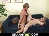 Big-cocked young guy fucks her shaved old pussy