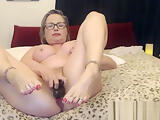 Granny with Glasses Oiled Hard Fuck Squirting