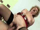 Busty granny gets filled with younger stiff rod