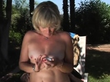 Wifey gets nailed in the back yard