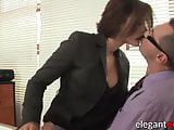 Delectable Euro MILF fucks in heels and stockings in office