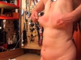 flogging her tits sore and red