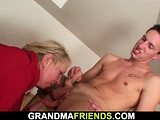 Two repairmen fuck old blonde grandma