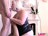 Granny rides and sucks dicks in threesome