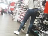 Sexy tight milf ass in jeans shopping little bend