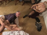 Blonde girl involved into old family threesome orgy
