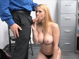 Busty blonde milf gets on her knees at the office
