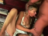 BBC deep throat by a hot old granny with big tits.