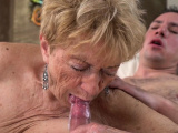 Old ladys mouth spermed