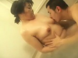 Asian granny takes a bath and is joined by a prick she suck