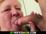 Wife goes crazy seeing her busty mother riding his dick