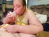 Bound sub giving smoking blowjob